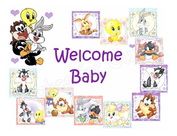 Etsy Cake Frostings Baby Shower Baby Looney Tunes Edible Cake Image  Frosting Sheet