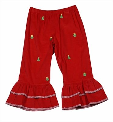 K & L by Vive la Fete Girls Red Corduroy Ruffle Pants - Embroidered Christmas Trees