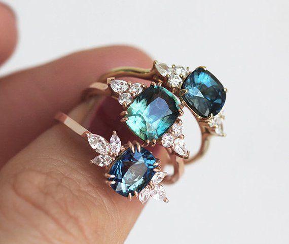 Blauer Saphir Verlobungsring Rose Gold, blaue Kissen Saphir und Diamant-Ring, einzigartige blaue Verlobungsring #coloredeyecontacts
