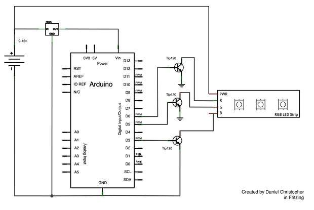 Rgb Led Strip Circuit With Arduino Arduino Led Arduino Led