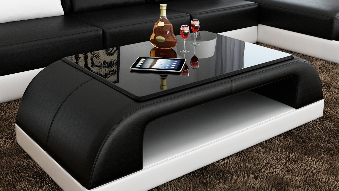 Contemporary Black And White Leather Coffee Table W Black Glass Table Top With Images Leather Coffee Table Coffee Table Design Modern Buy Modern Furniture