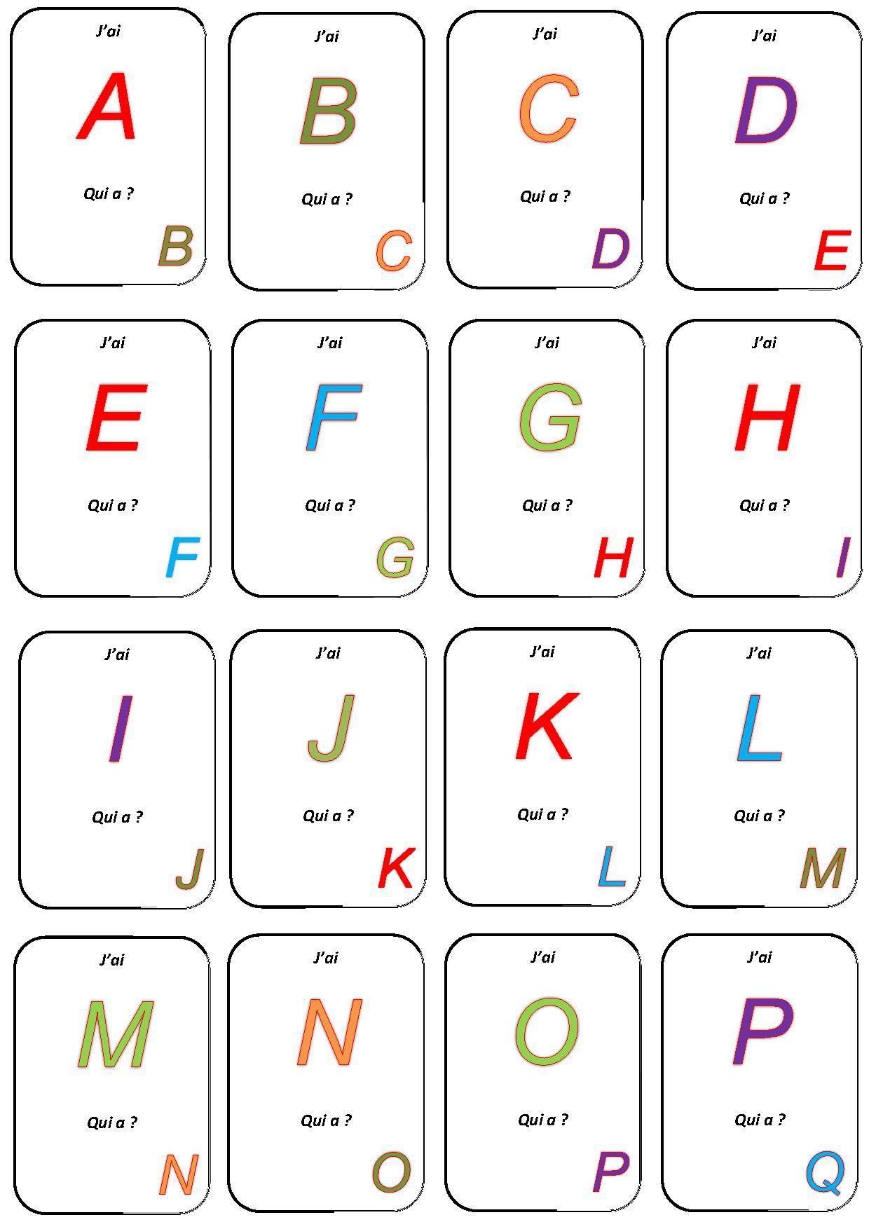 Jeu j 39 ai qui a ecole fran ais lecture - Alphabet francais maternelle ...