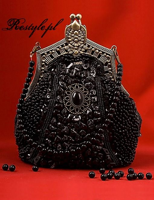 Pyon Pyon Elegant Gothic Black Beaded Purse Vintage Purses Beaded Handbag Retro Purse