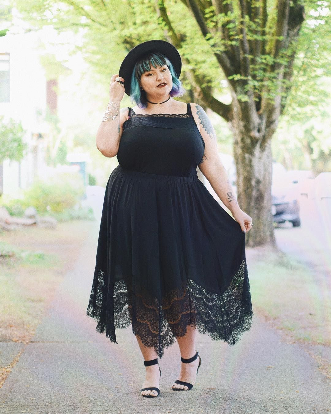 My Last Official Summergoth Look Of The Summer Courtesy Of Chicweplus Ad I Wish I Had This Skirt All Summer Long Plus Size Outfits Plus Size Fashion Fashion [ 1349 x 1080 Pixel ]