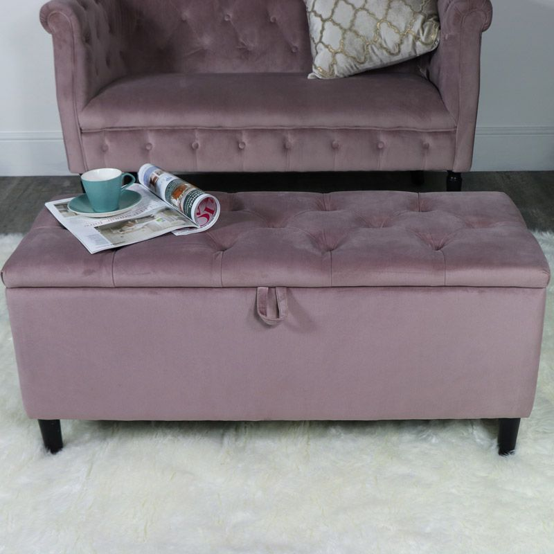 Groovy Pink Velvet Upholstered Storage Ottoman Bench Velvet Pink Squirreltailoven Fun Painted Chair Ideas Images Squirreltailovenorg