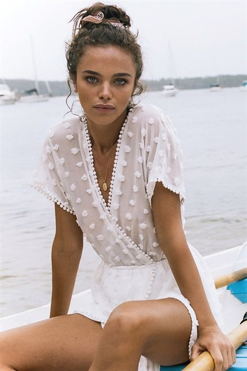 The Sheer Bold Polka Playsuit is made from a sheer, off white overlay with textured polka dots throughout. It features an edge sheer top with short sleeves, cross over V neckline, asymmetric overlay panels across hips and chain dot edges. Complete the look with the matching gold ring belt and tan leather wrap choker! By SABO LUXE.