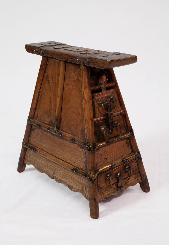 18th century Shanxi  Street Vendor's Bench with Brass HEIGHT:17.72 in. (45 cm) WIDTH:15.35 in. (39 cm) DEPTH:9.84 in. (25 cm)