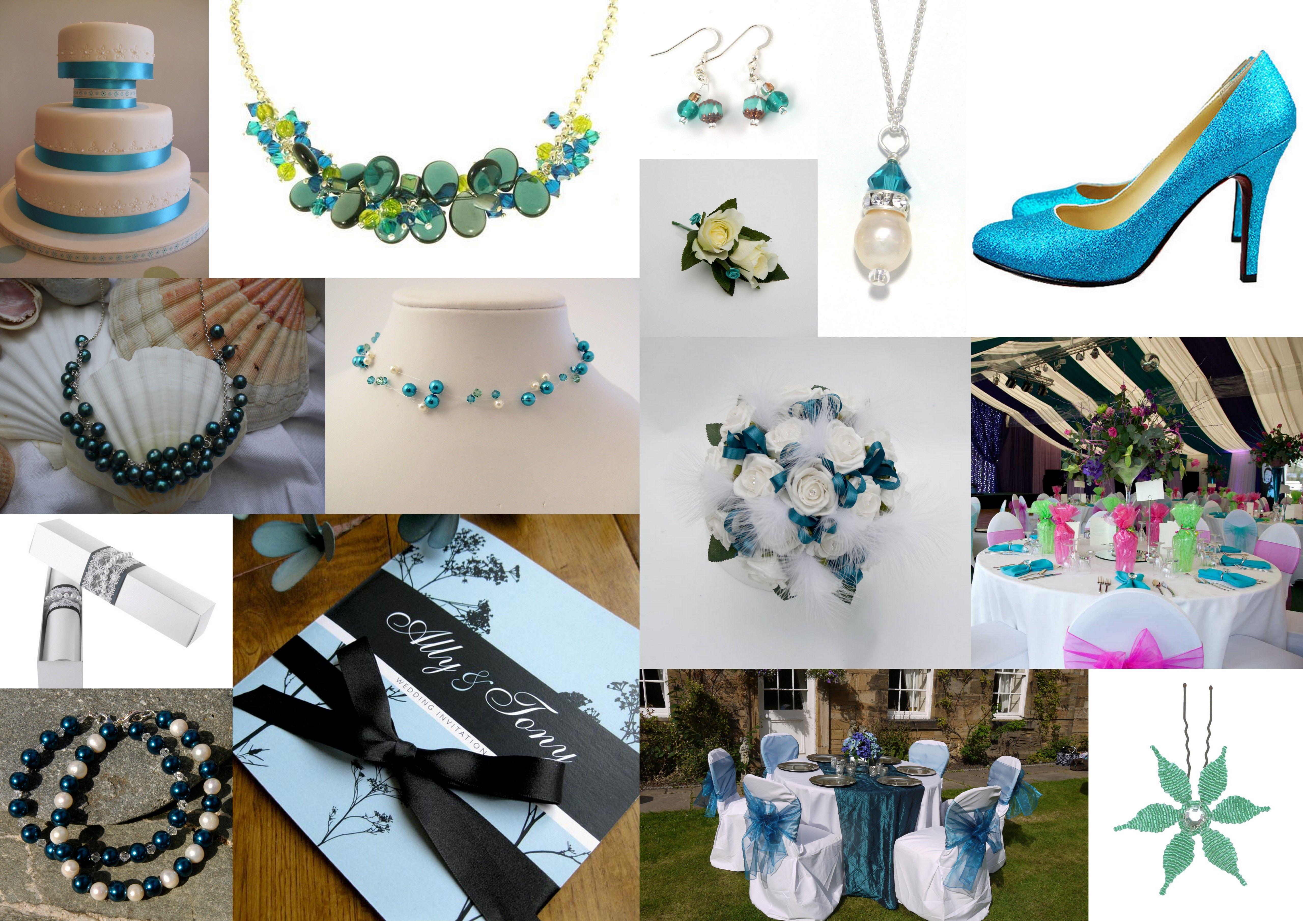 Teal (Green/Blue) Inspiration boards for weddings, green weddings ...