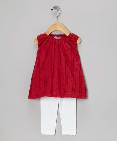 Take a look at this Red Swiss Dot Tunic & White Ruffle Leggings - Infant by Petit Confection on #zulily today!