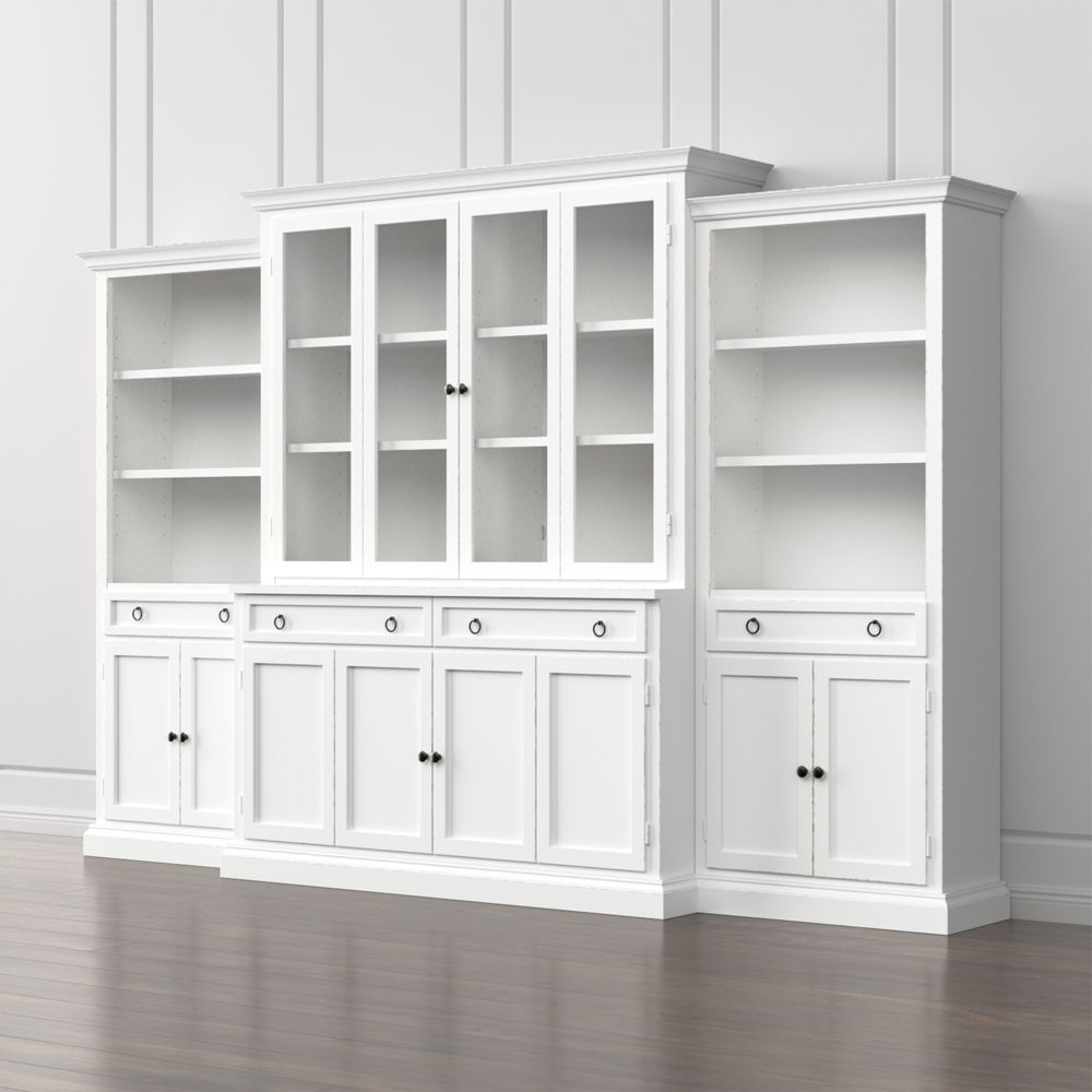 Cameo 4 piece modular white glass door wall unit with storage bookcases