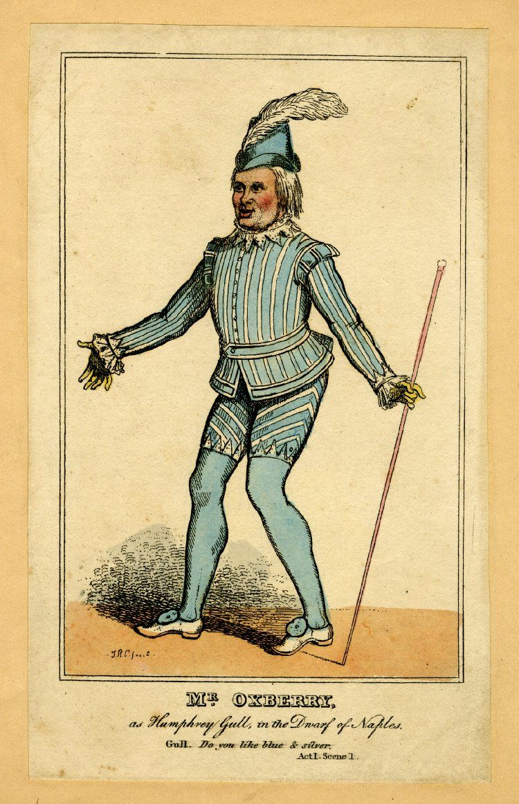 Title (object)Mr Oxberry as Humphrey Gull, in the Dwarf of Naples DescriptionPortrait of the actor William Oxberry, in costume for the part; whole length, standing, to the left, arms oustretched, holding cane.  Etching with hand-colouring Producer namePrint made by: Isaac Robert Cruikshank biography School/styleBritish Date1810-1820