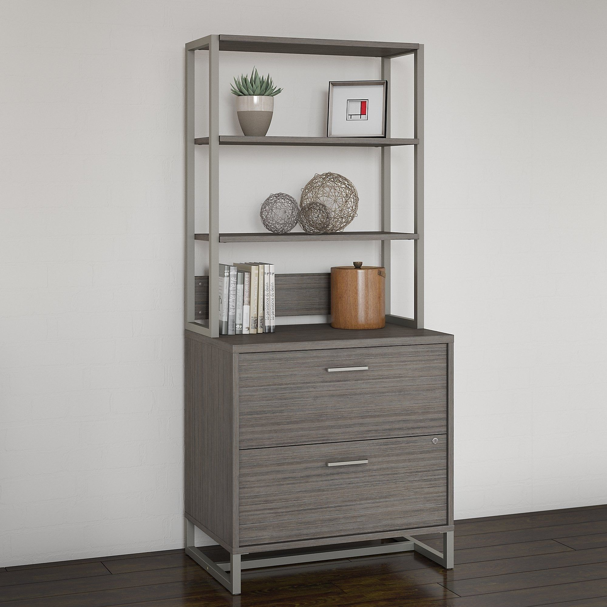 Bush Industries Kathy Ireland Office Method Metal Framed Lateral File  Cabinet With Hutch, Brown