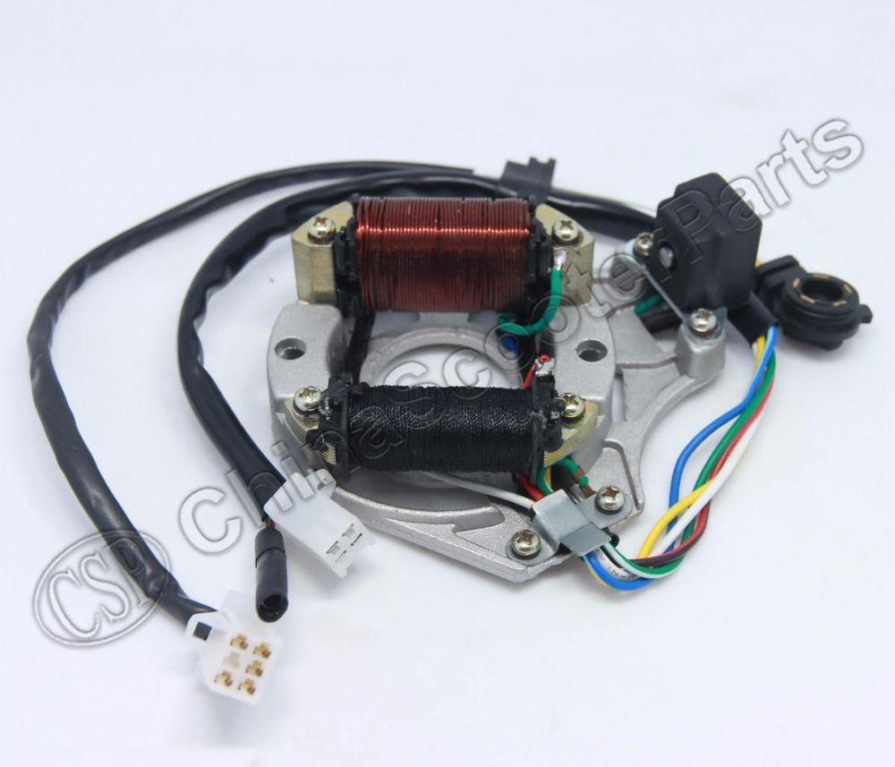 Magneto Stator Plate Ac 2 Pole Ignition Coil 5 Wire Gear Readout Yamaha Pw50 Wiring 50cc 70cc 90cc 110cc 125cc Lifan Zongshen Kazuma Dirt Bike Affiliate