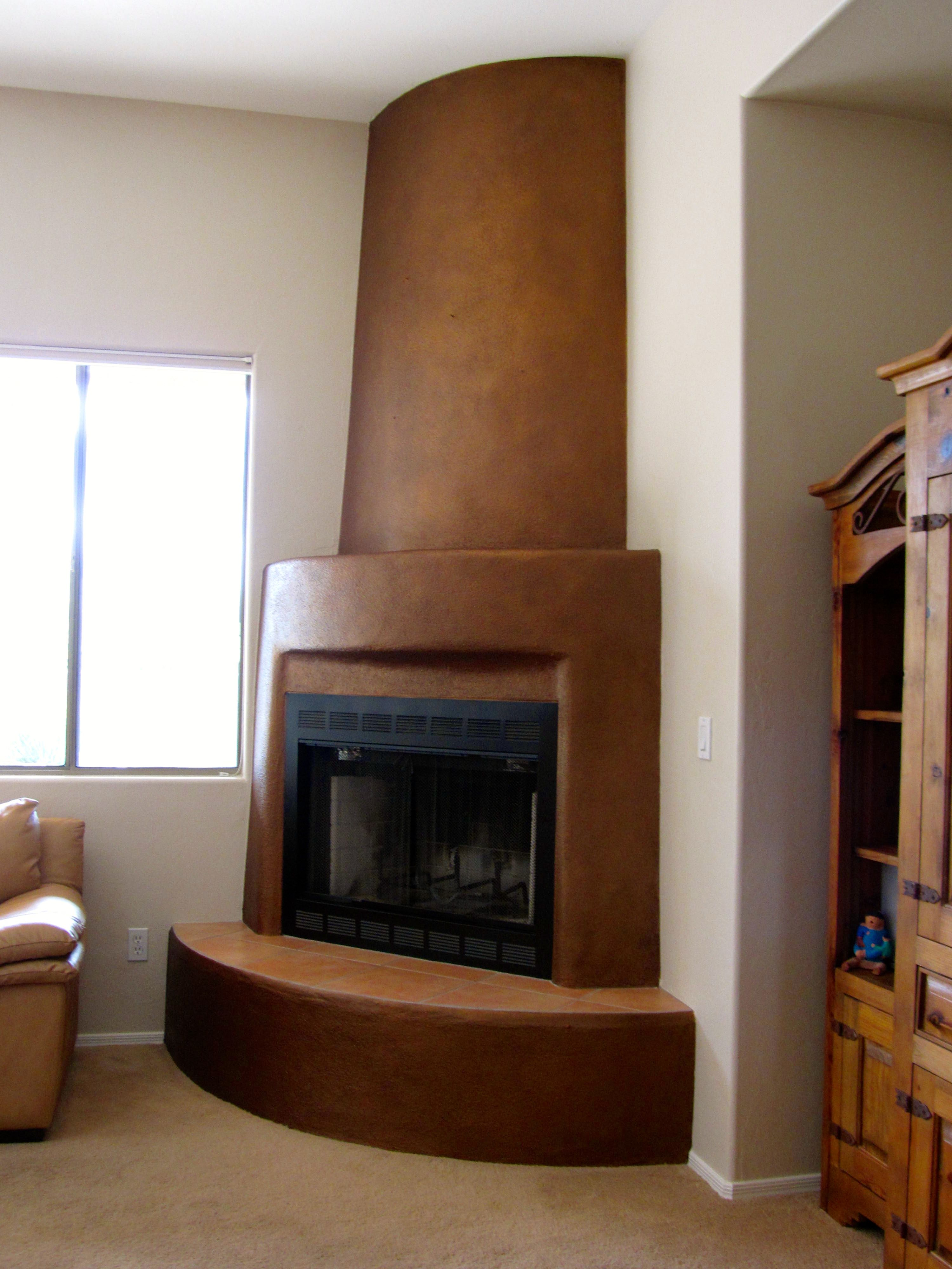 Kiva Fireplace With Modern Masters Statuary Bronze Metallic Paint