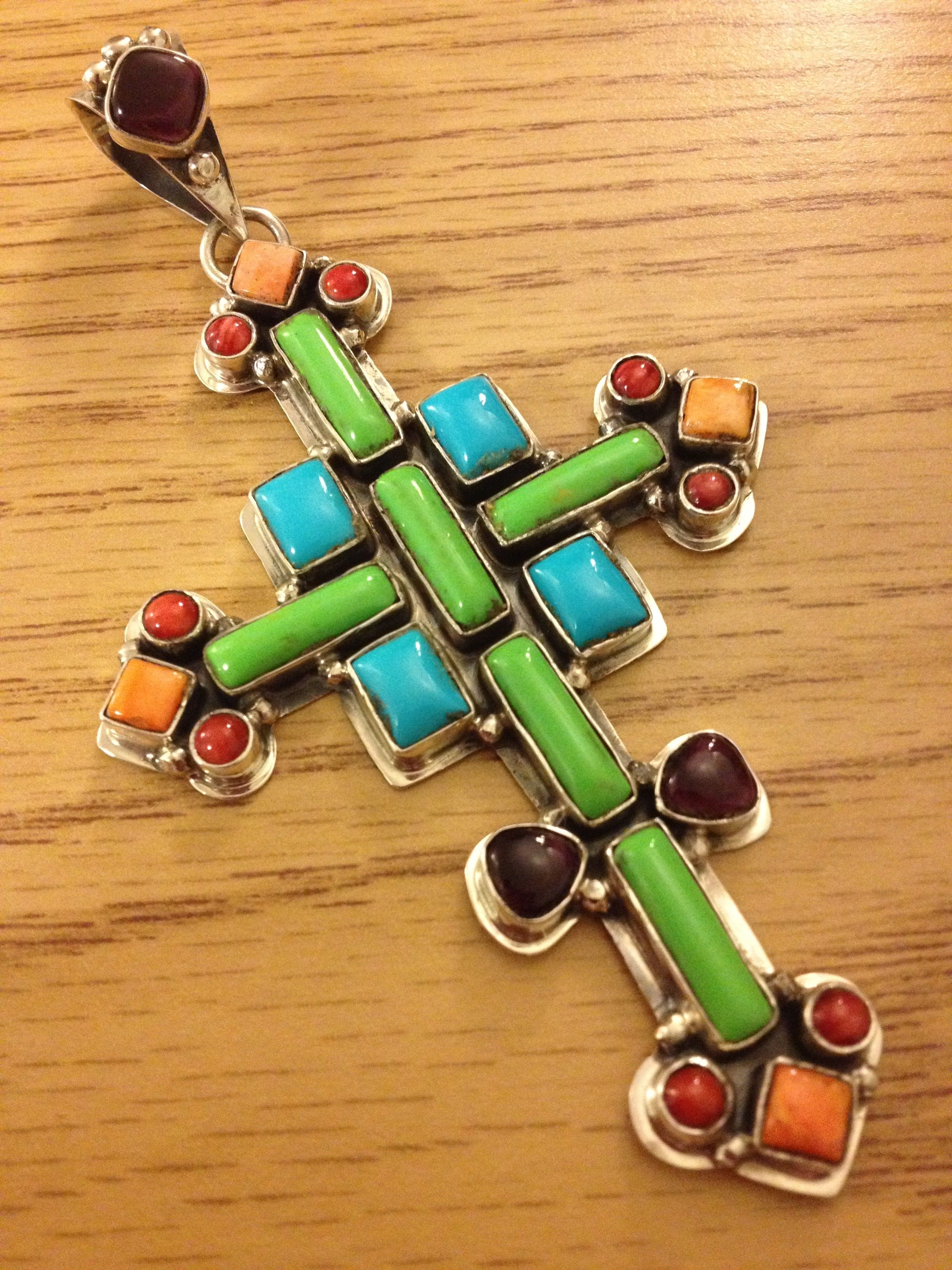 Roie Jaque 25 stones cross include gaspiate, turquoise, dark purple sugilite, red coral and orange spiney oyster