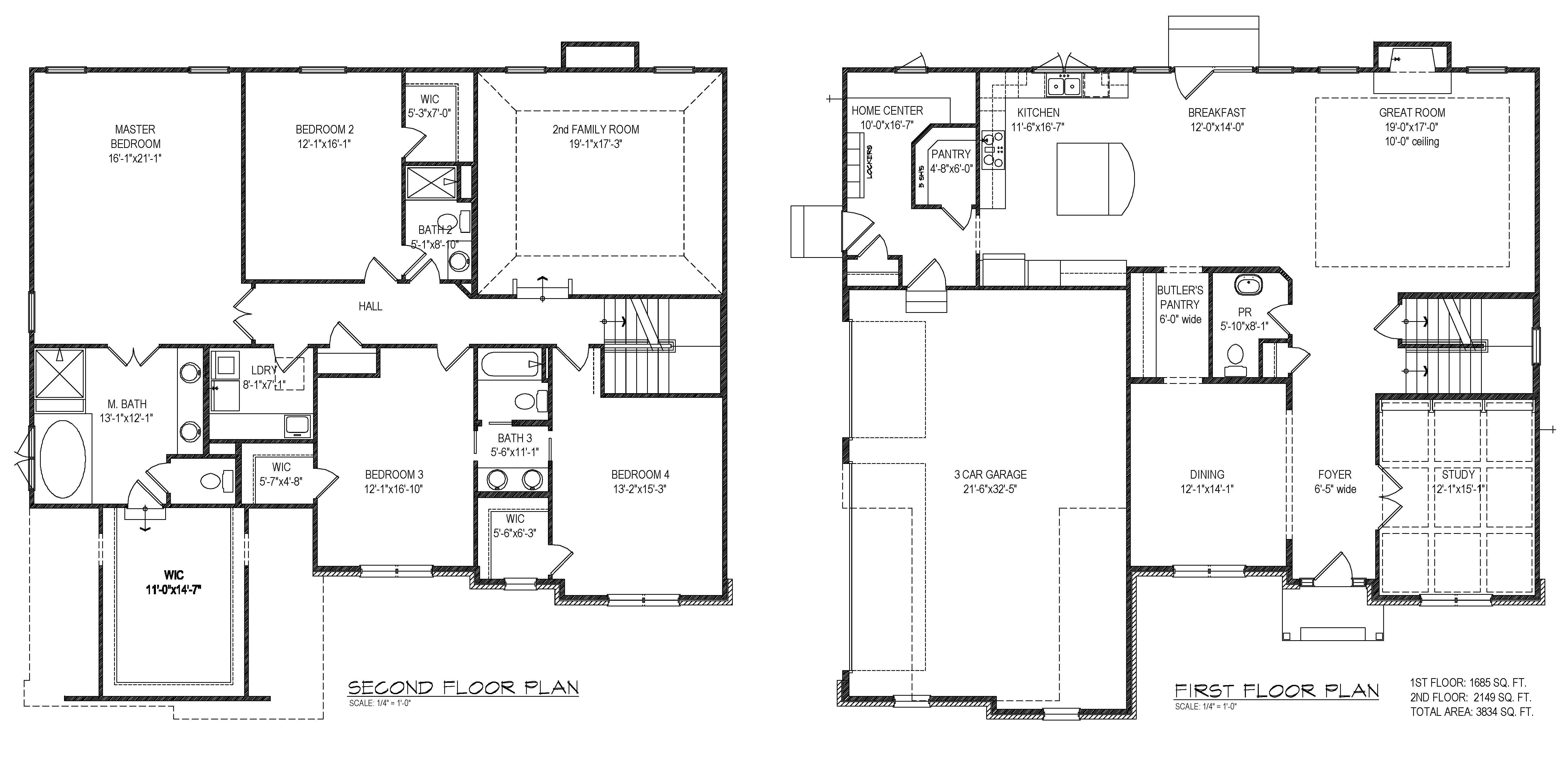 Layout First And Second Floor Plan Walk Closet Design Home