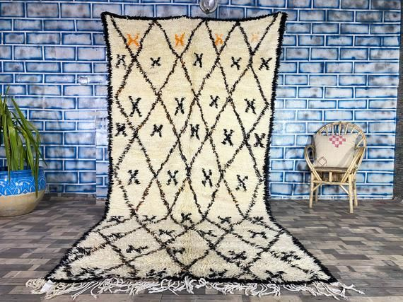 Vintage Moroccan rug Handmade rug Moroccan rug Beni Ourain wool rug Hallway rug Area Rug 5 7X10