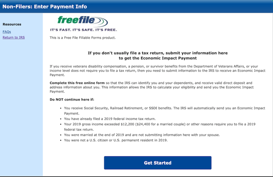 Irs Finally Launches Registration Tool For Stimulus Checks Irs Tax Return Internal Revenue Service