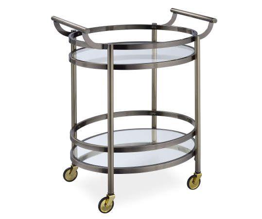 Lakelyn Brushed Bronze Mirror Serving Cart Serving Cart