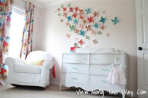 Girl Nursery Pinwheel Art