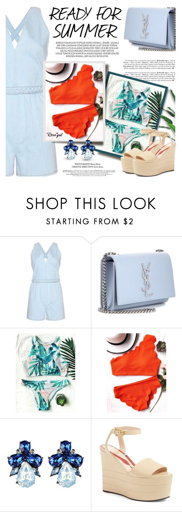 """Rosegal: Ready for Summer"" by defivirda ❤ liked on Polyvore featuring Valentino, Yves Saint Laurent, xO Design, Gucci, Summer, summerdate, summerroadtrip, summerbrights and summer2017"