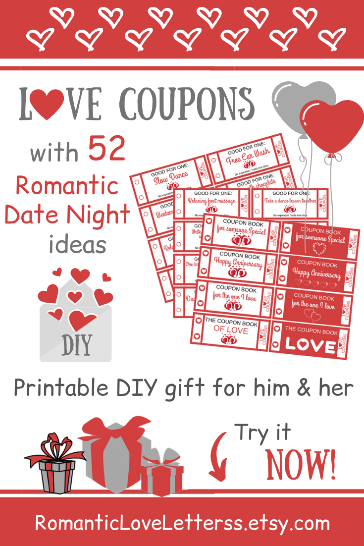 Romantic Love Coupons Coupon Book Diy Love Coupons Love Coupons For Him