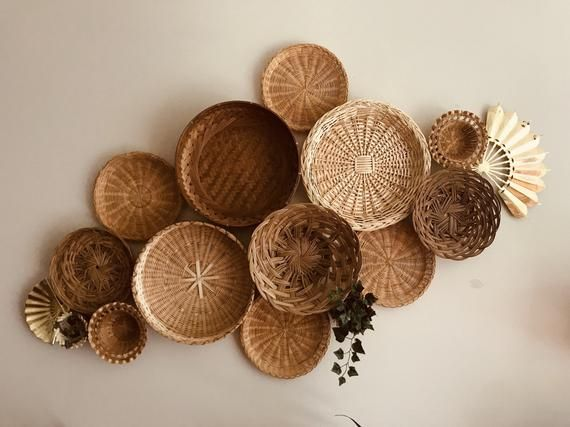 Vintage Basket Wall Bohemian Home Decor Boho Folk Mod Mid Century Hippie Gypsy Baskets Woven Wicker Straw Art