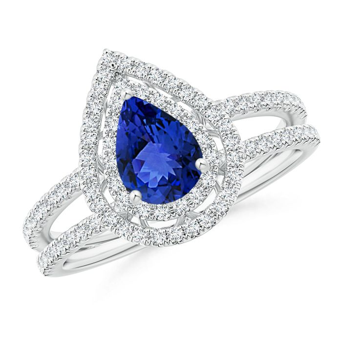 Angara Twisted Rope GIA Certified Cushion Sapphire Halo Ring
