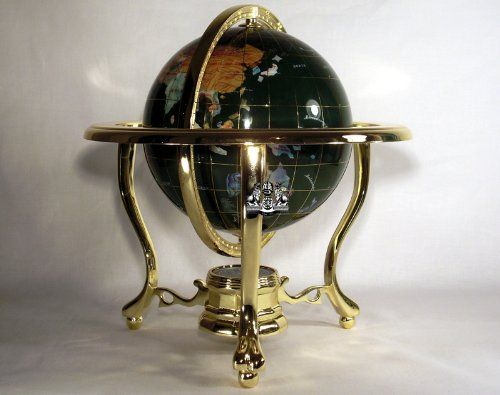 14 malachite gemstone globe with 3 leg gold stand be sure to tall malachite ocean table top gemstone world map globe with gold stand gumiabroncs Choice Image