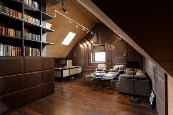 On the top level designers created the most masculine space in the home with