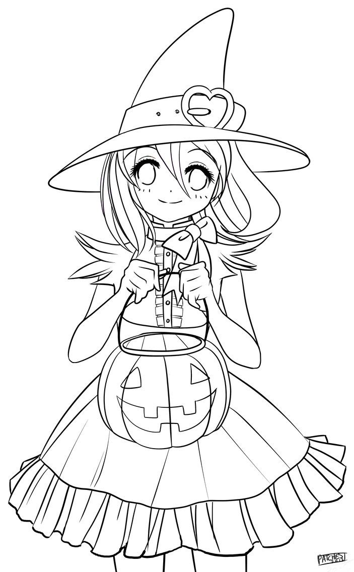 Color Me Halloween Chan By Dapatches On Deviantart Witch Coloring Pages Cute Coloring Pages Halloween Coloring
