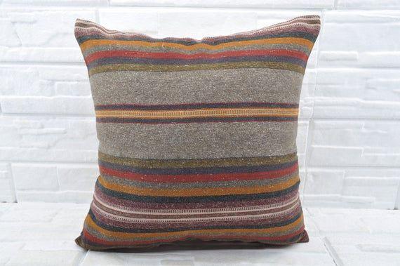 black striped kilim pillow ethic pillow case bohemian kilim pillow sofa pillow 24x24 kilim pillow large pillow oriental pillow No 743  black striped kilim pillow ethic pi...