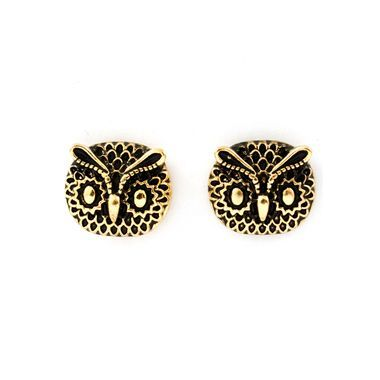 """Antiqued gold owl faces, heavily burnished, hang just over 1/2"""""""" with offset posts."""