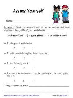 Superb Student Self Assessment Sheet.