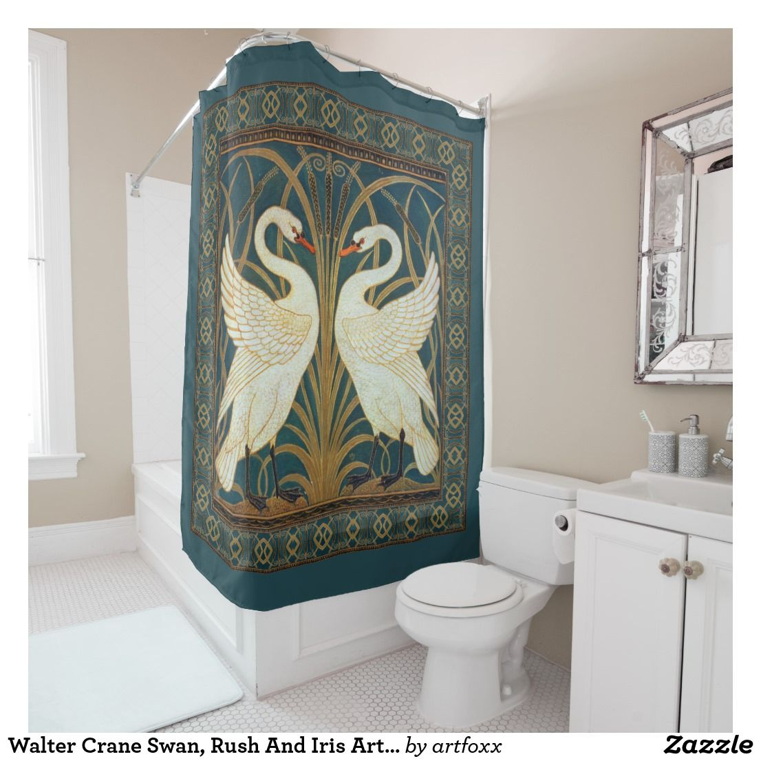 Walter Crane Swan Rush And Iris Art Nouveau Shower Curtain