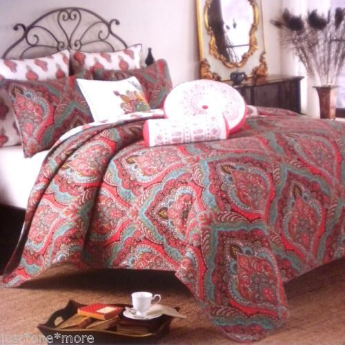 Artistic Accents Wild Medallion Full Queen Quilt Paisley Lipstick Red Teal Ebay Bedding Inspiration Queen Quilt Paisley Bedding