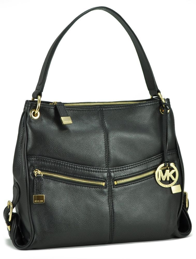 610eff0cec12 MICHAEL Kors LAYTON LG Shoulder Bag in Black LEATHER! Gold HW! Charm  38F3XLYL3L #MichaelKors #ShoulderBag