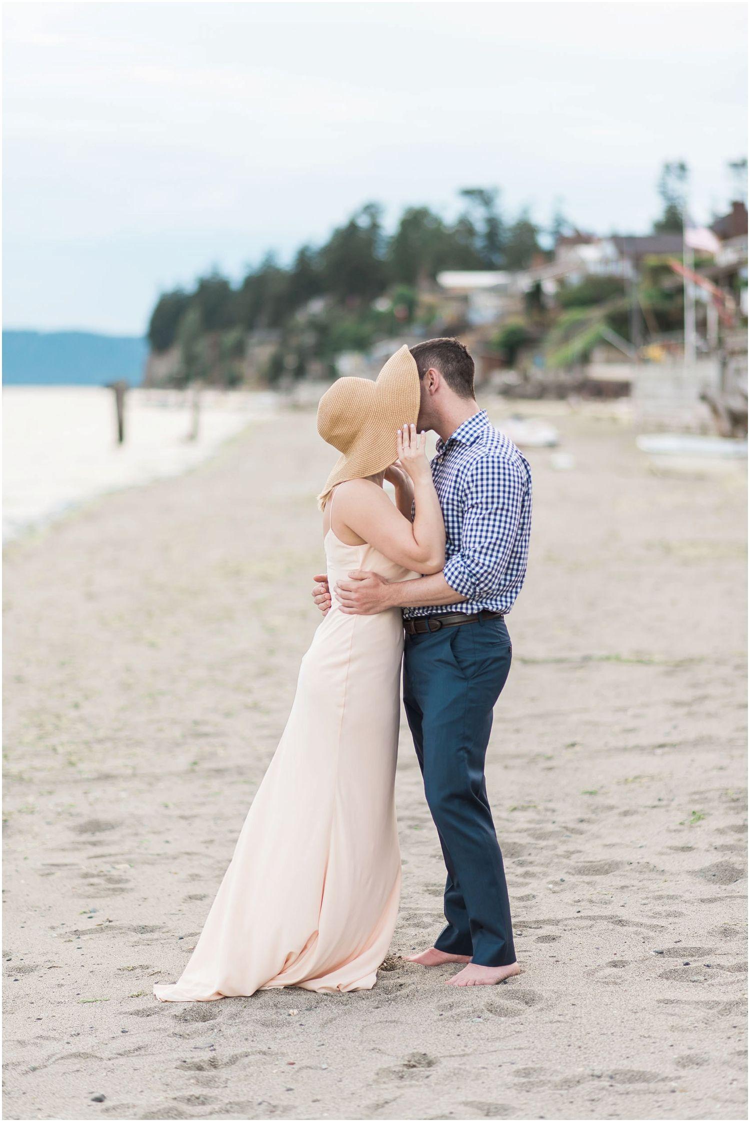 Nautical beach engagement mission beach pnw beach wedding