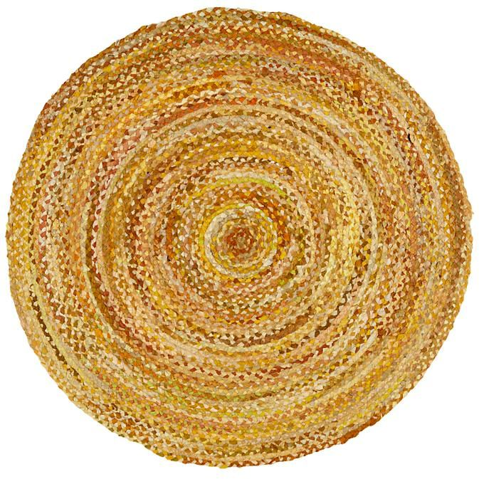 Kids Rugs Round Yellow Braided Rug