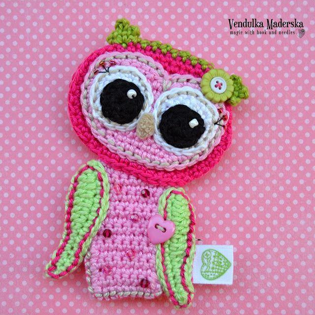 crochet owl by VendulkaM | apliques | Pinterest | Apliques, Pájaro y ...