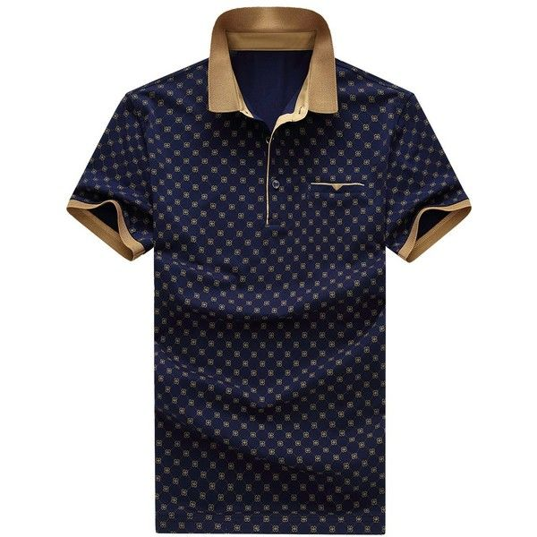 798ca21a59f Printed Turn-down Collar Short Sleeves Polo T-Shirt For Men ❤ liked on  Polyvore featuring men s fashion