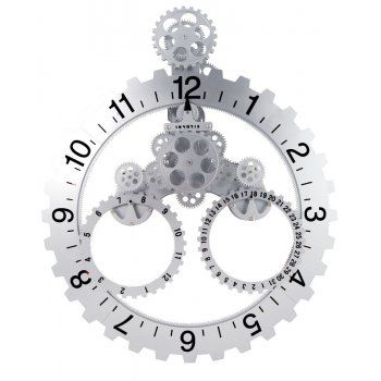 Invotis Big Hour Date With Month Wheel Gear Large Wall Clock Silver