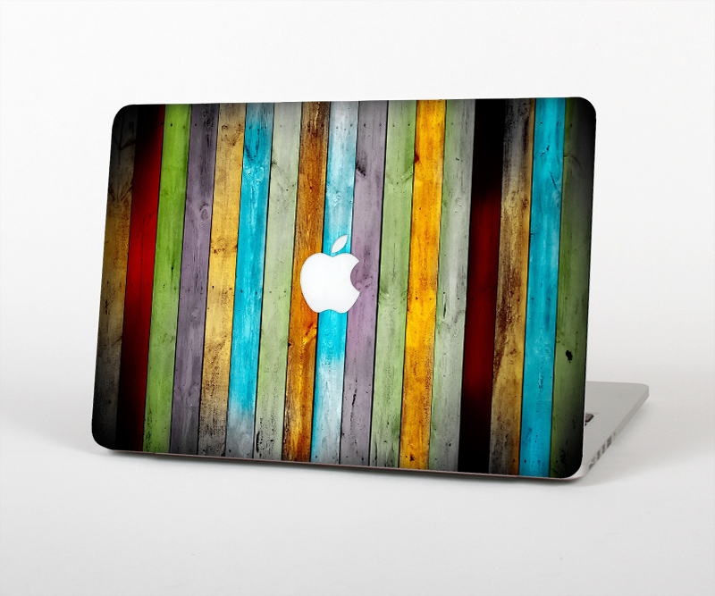 The Vintage Colored Wooden Planks Skin Set for the Apple MacBook Pro ...