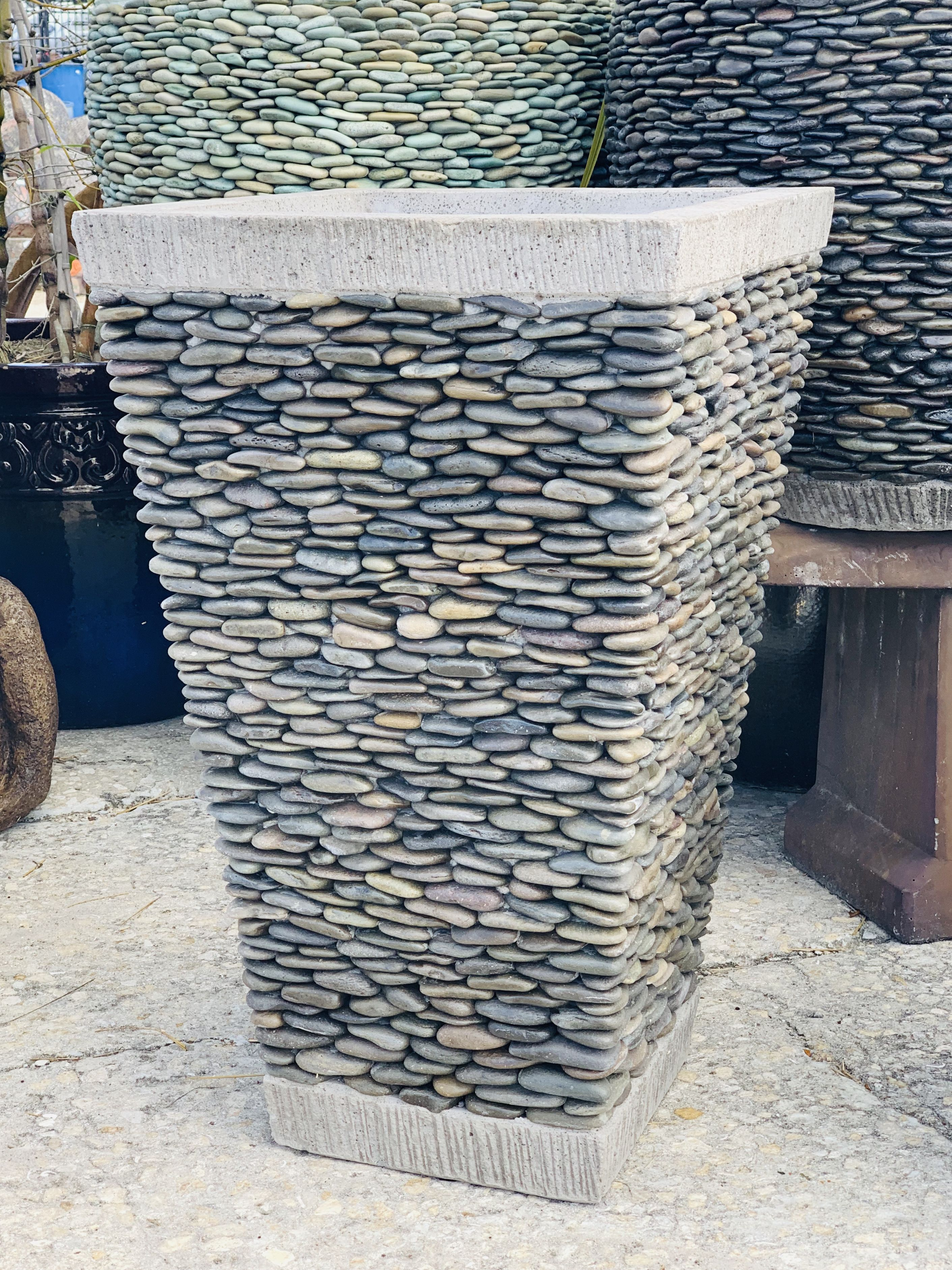 Pebble Slim Square Planter In Natural Stone Fountains Square Planters Planters
