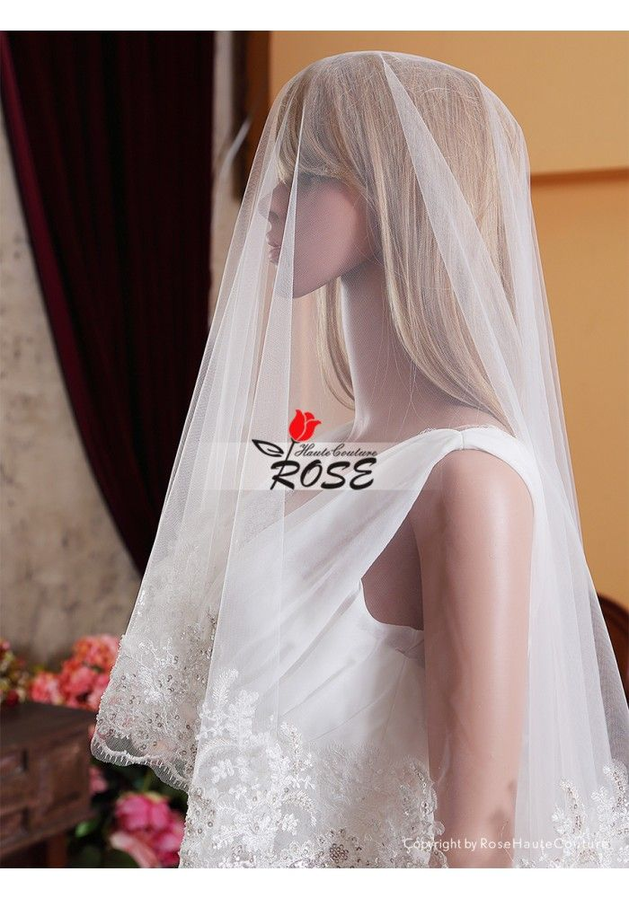 Cathedral Wedding Veil Bridal Veil One Layer No Comb Style BV096 - Wedding Veil