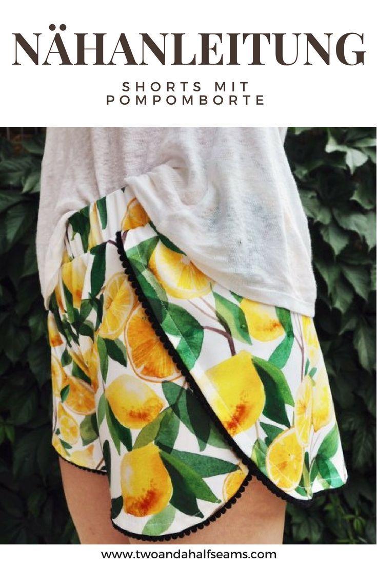 Photo of … in diesem Beitrag zeige ich Ihnen, wie Sie diese Shorts mit einem Pomponrand selbst herstellen können …