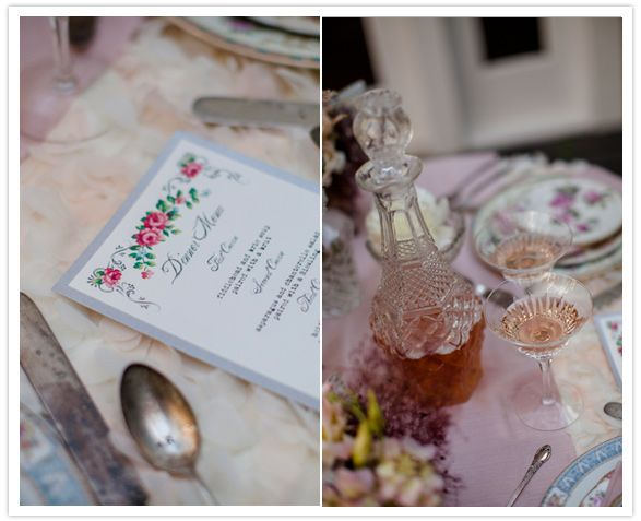 floral printed menu and vintage crystal decanter, great for serving wine at each table without advertising which brand