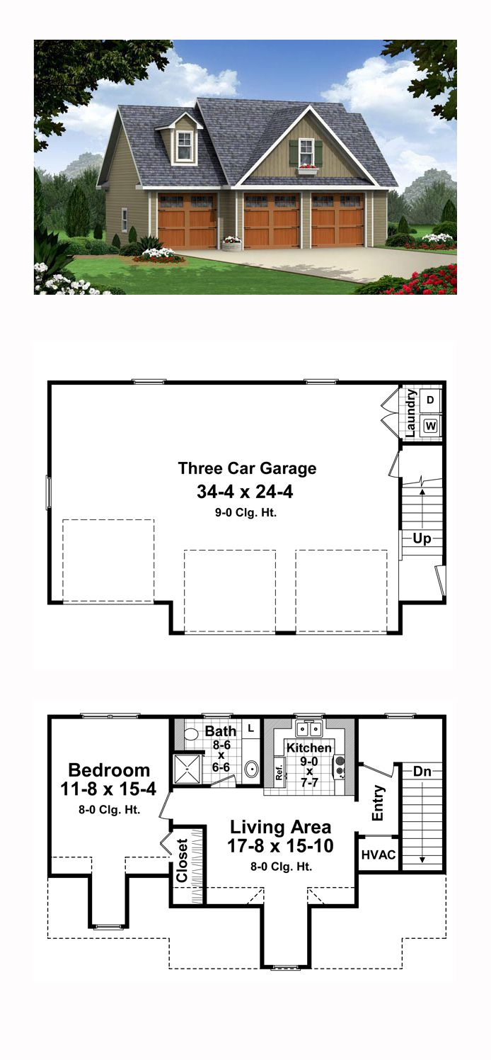 Traditional Style 3 Car Garage Apartment Plan Number 59948 With 1 Bed 1 Bath Carriage House Plans Garage Apartments Garage Apartment Plan