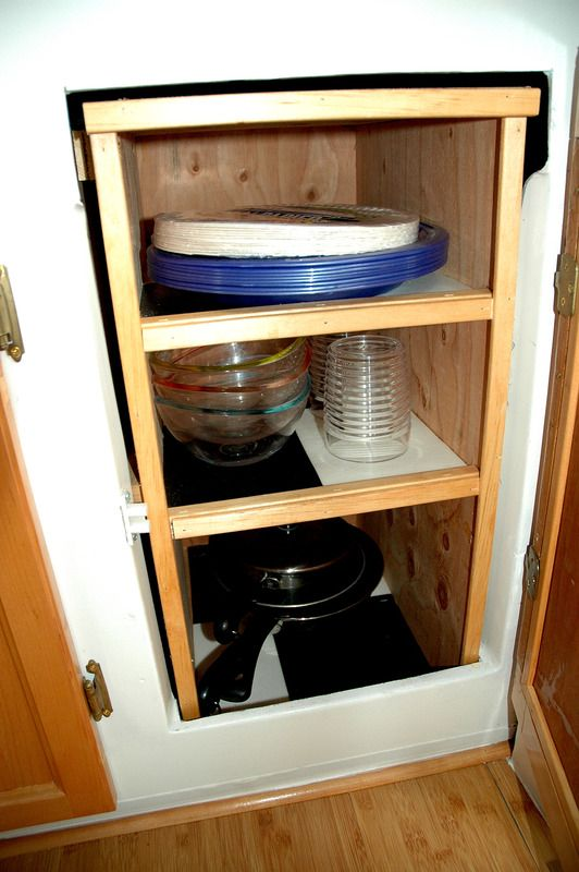 Cabinet Next To Door Has Shelving Insert | 1975 Surfside Sold For 8500 USD