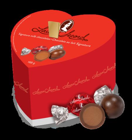 Boîte en coeur Signature - Chocolat au lait 168 g @ #LauraSecord #placevillemarie
